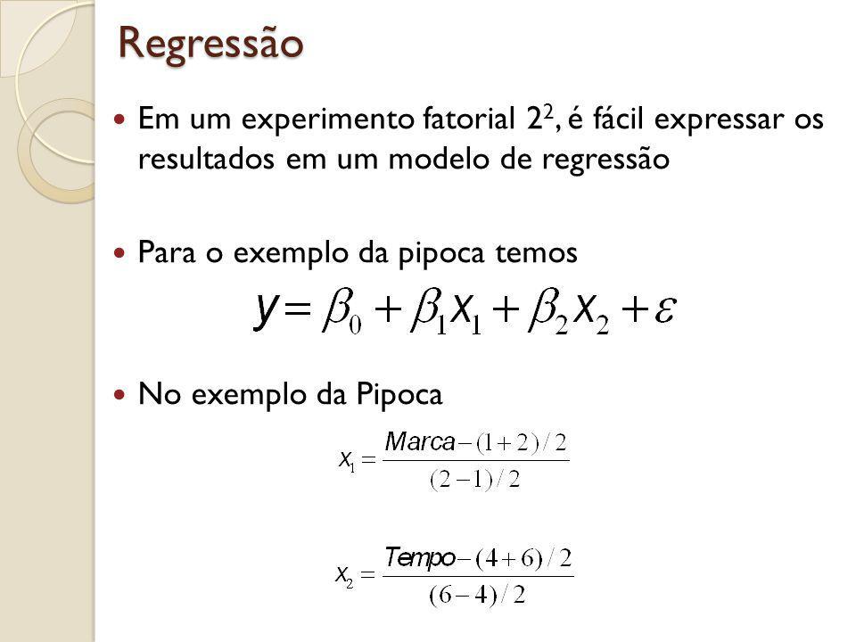 Regressão Em um experimento fatorial 2 2, é fácil expressar os resultados em um modelo de regressão Para o exemplo da pipoca temos No exemplo da Pipoc