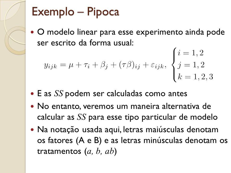 Fatoriais 2 2 – Análise de Variância A SS T é calculada da mesma forma que antes: E a SS E é calculada pela subtração: No exemplo da pipoca