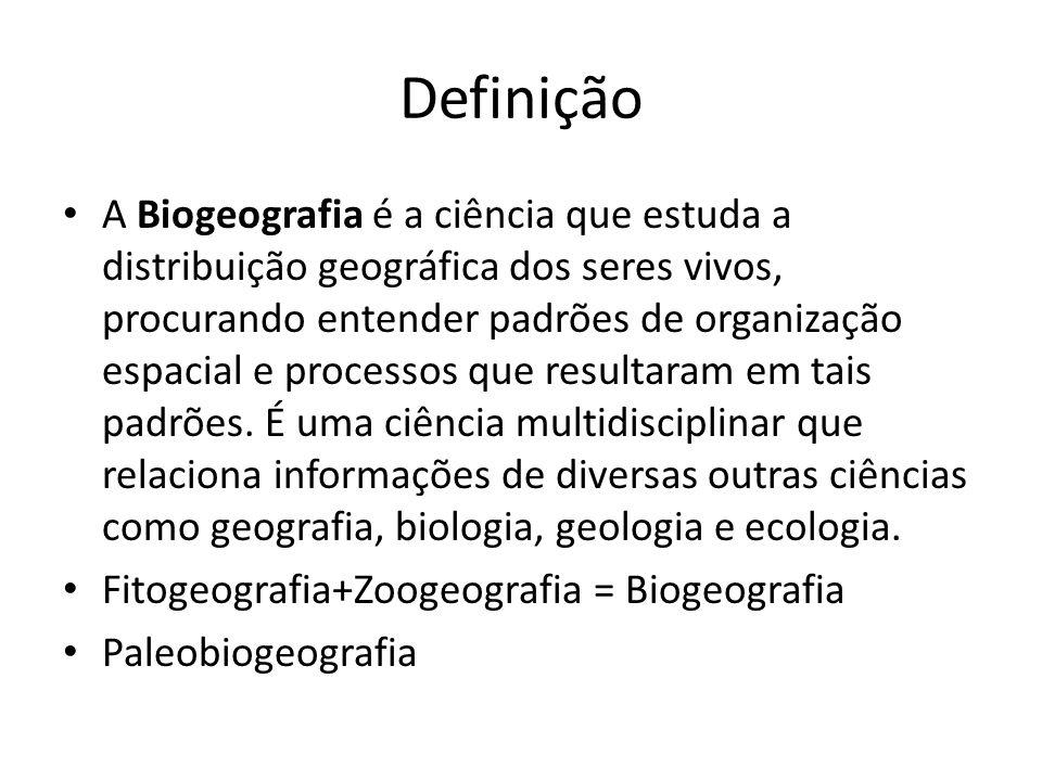 Definição A Biogeografia é a ciência que estuda a distribuição geográfica dos seres vivos, procurando entender padrões de organização espacial e proce