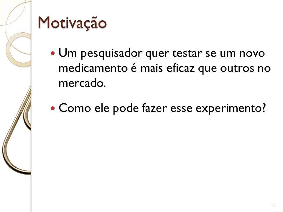 Motivação 2 Um pesquisador quer testar se um novo medicamento é mais eficaz que outros no mercado. Como ele pode fazer esse experimento?