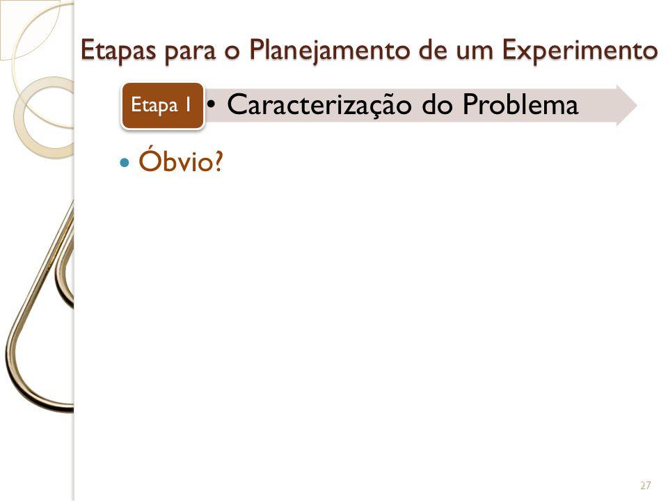 Etapas para o Planejamento de um Experimento Caracterização do Problema Etapa 1 27 Óbvio?