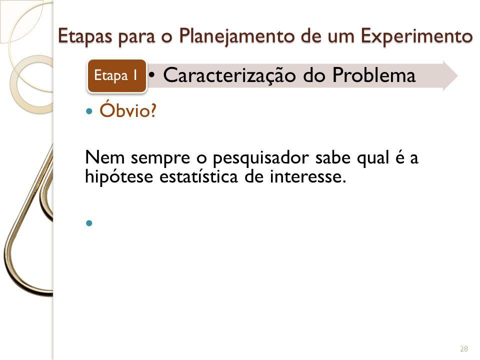Etapas para o Planejamento de um Experimento Caracterização do Problema Etapa 1 28 Óbvio? Nem sempre o pesquisador sabe qual é a hipótese estatística