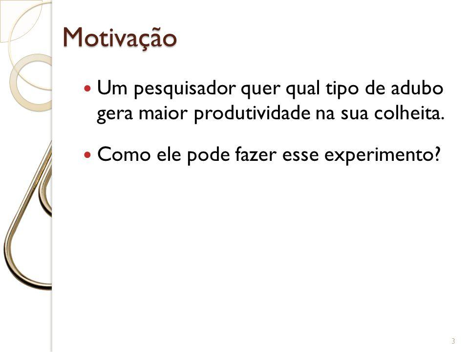 Motivação 4 Um fabricante produz certo produto em 4 fornos industriais.