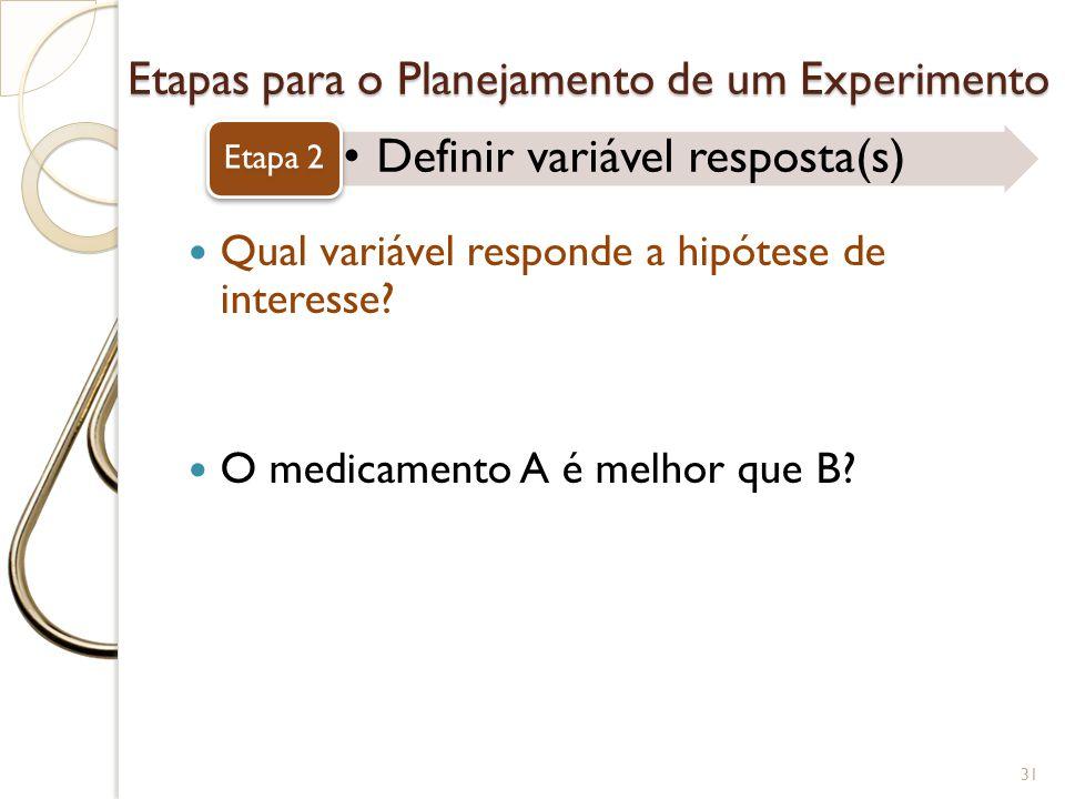 Etapas para o Planejamento de um Experimento Definir variável resposta(s) Etapa 2 31 Qual variável responde a hipótese de interesse? O medicamento A é