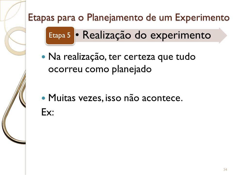 Etapas para o Planejamento de um Experimento Realização do experimento Etapa 5 34 Na realização, ter certeza que tudo ocorreu como planejado Muitas ve