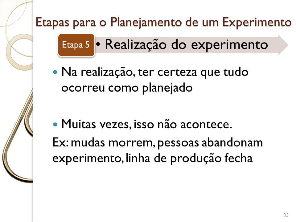 Etapas para o Planejamento de um Experimento Realização do experimento Etapa 5 35 Na realização, ter certeza que tudo ocorreu como planejado Muitas ve