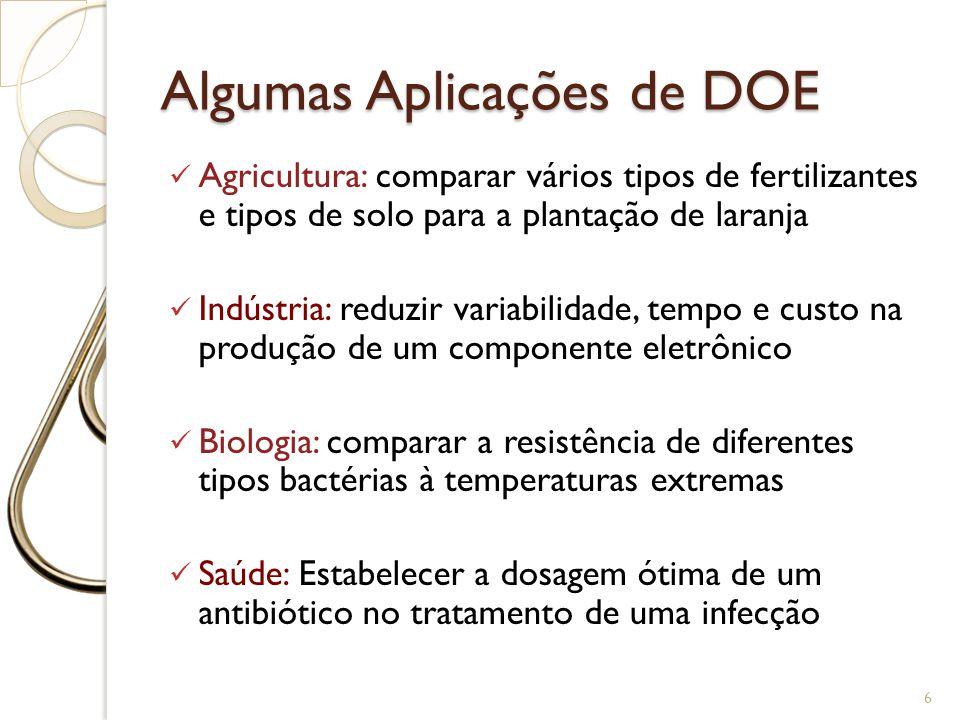 Algumas Aplicações de DOE Agricultura: comparar vários tipos de fertilizantes e tipos de solo para a plantação de laranja Indústria: reduzir variabili