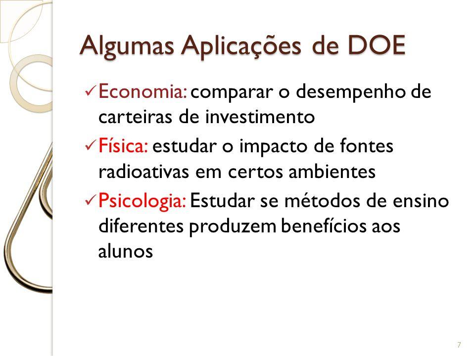 Algumas Aplicações de DOE Economia: comparar o desempenho de carteiras de investimento Física: estudar o impacto de fontes radioativas em certos ambie