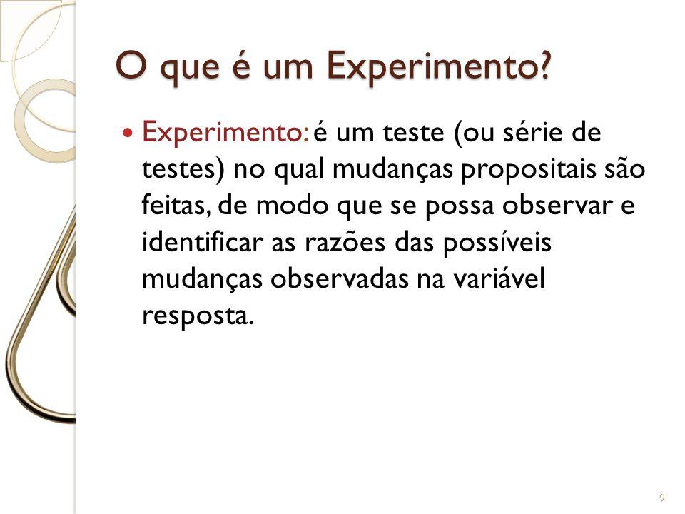O que é um Experimento? Experimento: é um teste (ou série de testes) no qual mudanças propositais são feitas, de modo que se possa observar e identifi