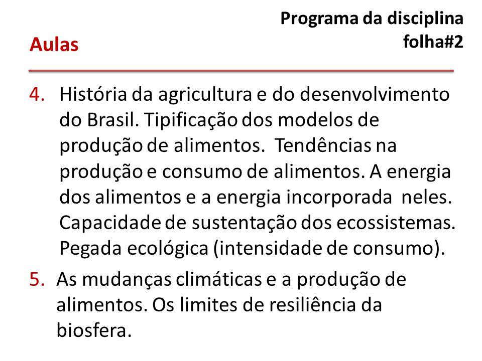 Programa da disciplina folha#2 4.História da agricultura e do desenvolvimento do Brasil.