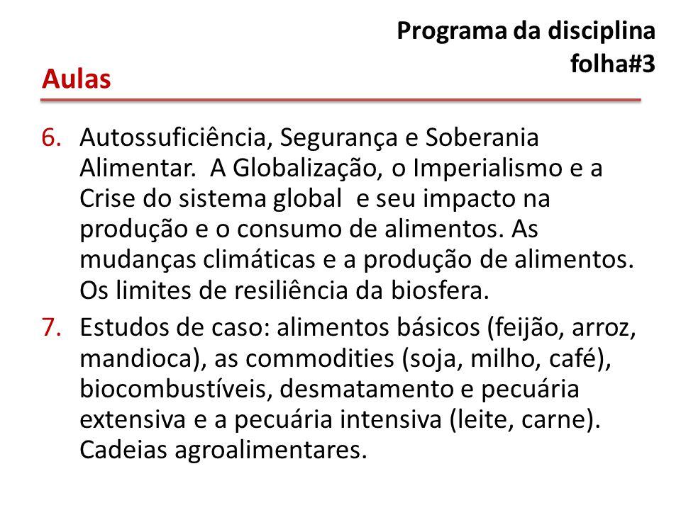 Programa da disciplina folha#3 6.Autossuficiência, Segurança e Soberania Alimentar.