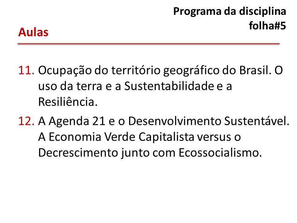 Programa da disciplina folha#5 11.Ocupação do território geográfico do Brasil.