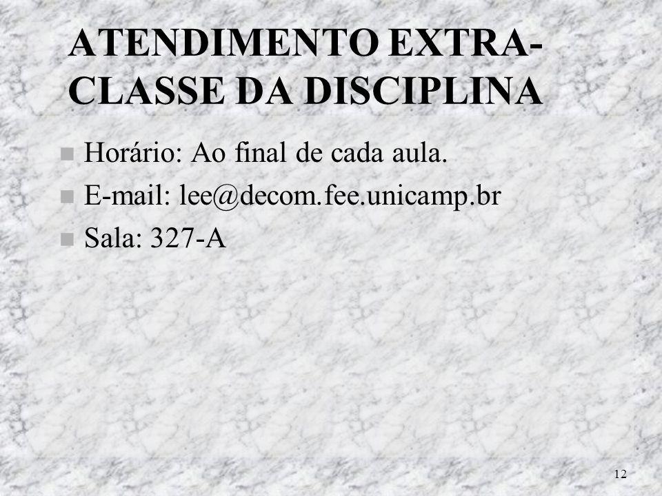 12 ATENDIMENTO EXTRA- CLASSE DA DISCIPLINA Horário: Ao final de cada aula. E-mail: lee@decom.fee.unicamp.br Sala: 327-A