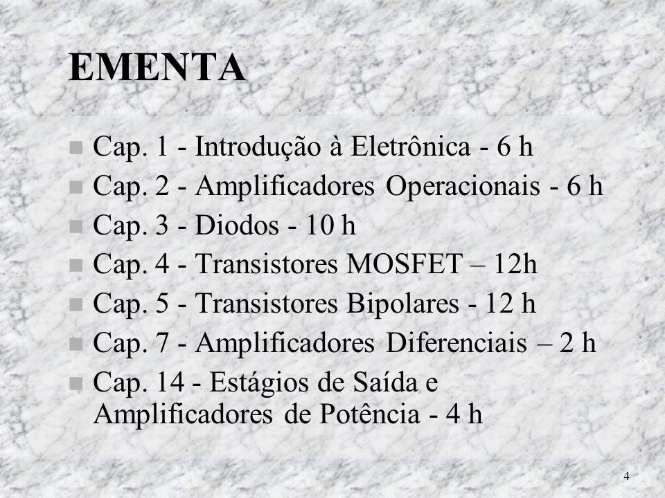 4 EMENTA Cap. 1 - Introdução à Eletrônica - 6 h Cap. 2 - Amplificadores Operacionais - 6 h Cap. 3 - Diodos - 10 h Cap. 4 - Transistores MOSFET – 12h C
