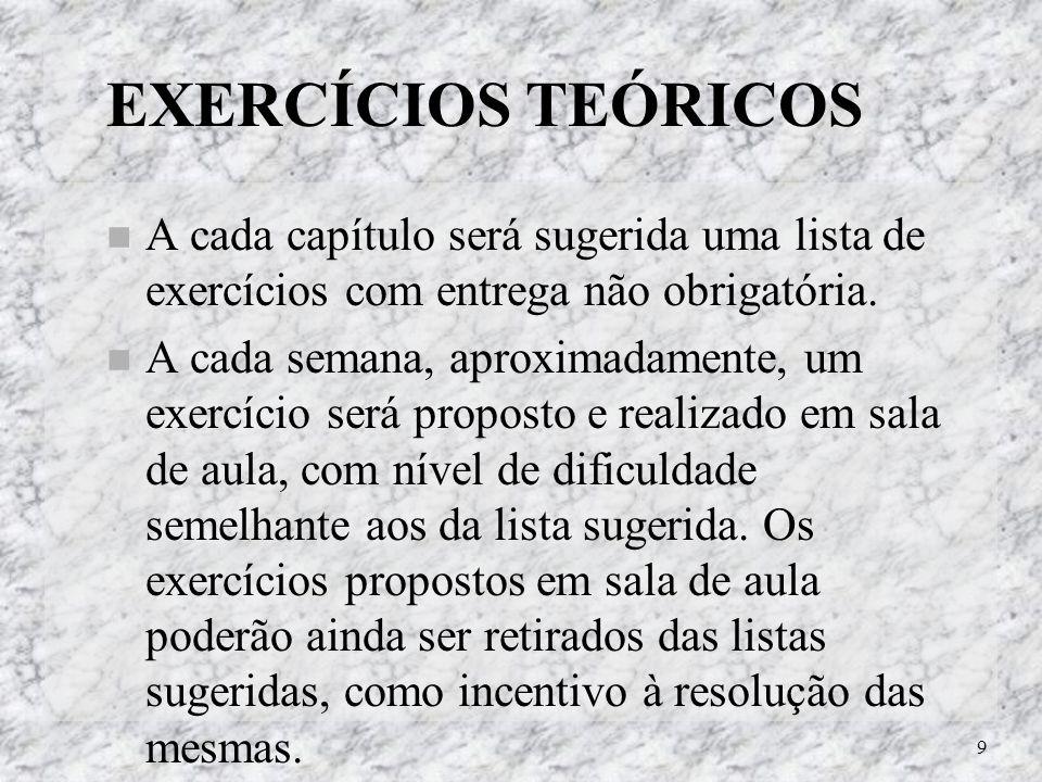 9 EXERCÍCIOS TEÓRICOS A cada capítulo será sugerida uma lista de exercícios com entrega não obrigatória. A cada semana, aproximadamente, um exercício