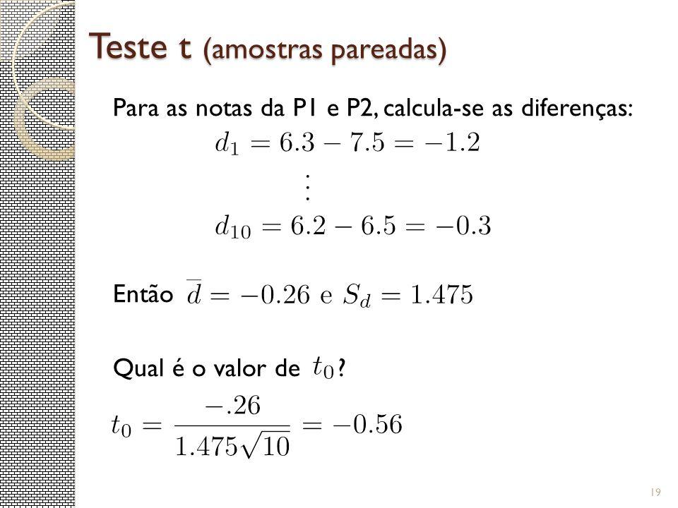 Teste t (amostras pareadas) Para as notas da P1 e P2, calcula-se as diferenças: Então Qual é o valor de ? 19