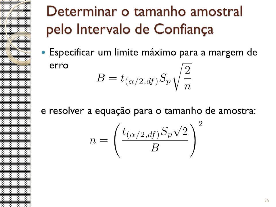 Determinar o tamanho amostral pelo Intervalo de Confiança Especificar um limite máximo para a margem de erro e resolver a equação para o tamanho de am