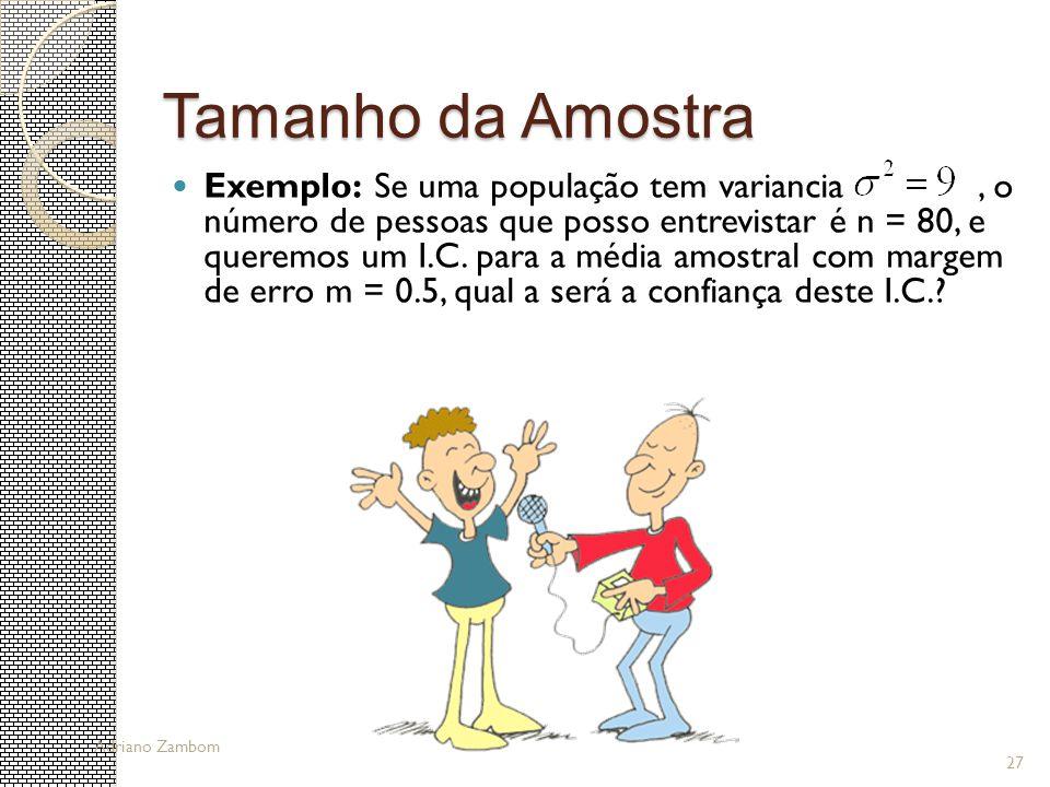27 Tamanho da Amostra Exemplo: Se uma população tem variancia, o número de pessoas que posso entrevistar é n = 80, e queremos um I.C. para a média amo
