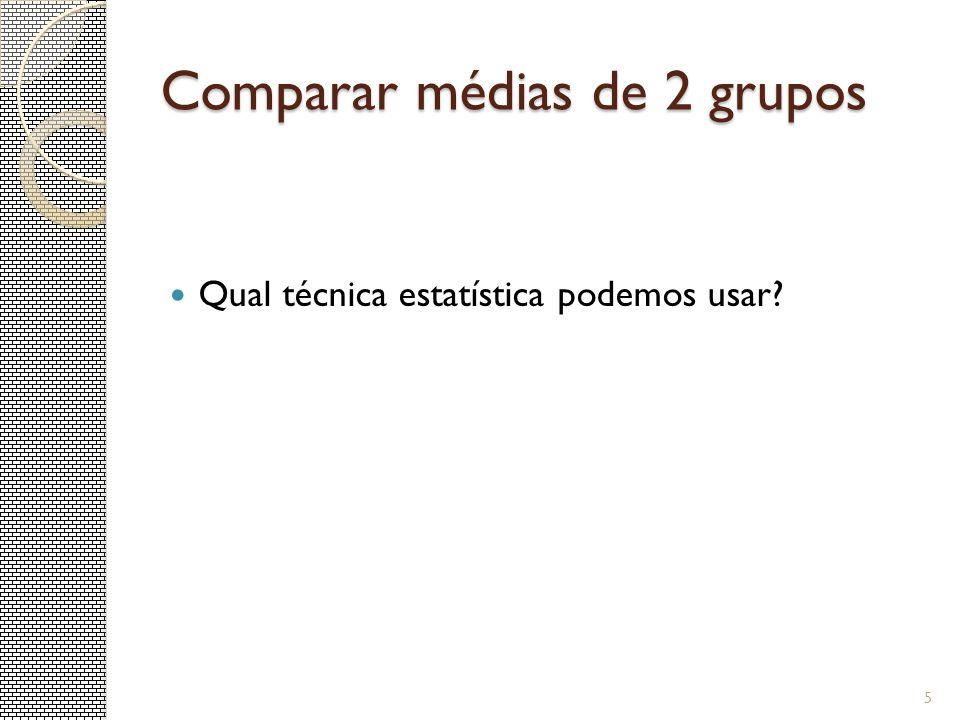 Comparação de Duas Médias Amostras Pareadas Exemplo: Suponha que queremos testar se existe diferença no desempenho dos alunos entre a P1 e P2.