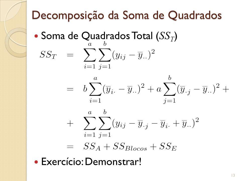 Decomposição da Soma de Quadrados Soma de Quadrados Total ( SS T ) Exercício: Demonstrar! 13