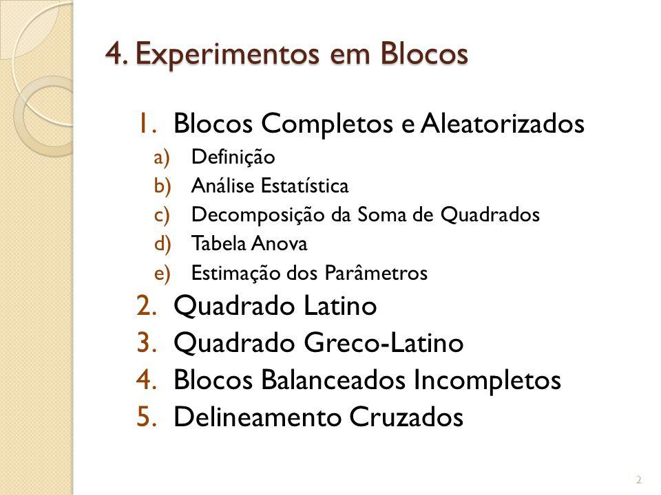 4. Experimentos em Blocos 1.Blocos Completos e Aleatorizados a)Definição b)Análise Estatística c)Decomposição da Soma de Quadrados d)Tabela Anova e)Es