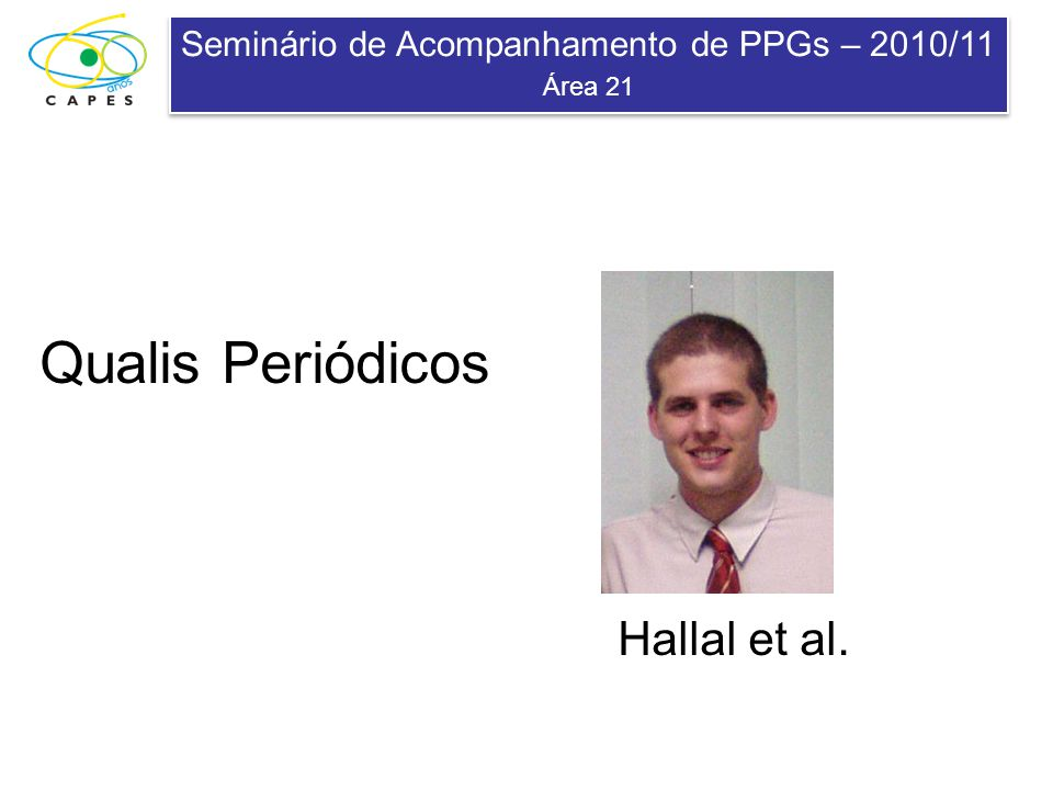 Seminário de Acompanhamento de PPGs – 2010/11 Área 21 Seminário de Acompanhamento de PPGs – 2010/11 Área 21 Qualis Periódicos Hallal et al.