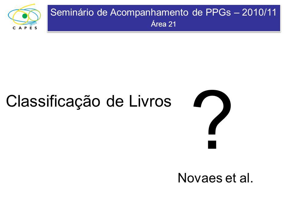 Seminário de Acompanhamento de PPGs – 2010/11 Área 21 Seminário de Acompanhamento de PPGs – 2010/11 Área 21 Classificação de Livros Novaes et al. ?