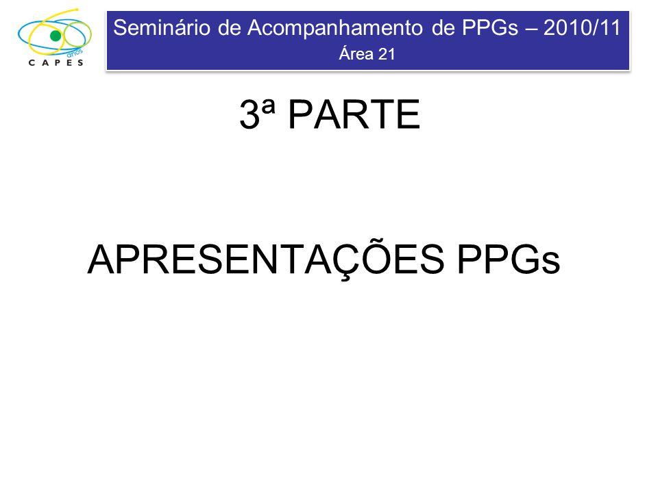 Seminário de Acompanhamento de PPGs – 2010/11 Área 21 Seminário de Acompanhamento de PPGs – 2010/11 Área 21 APRESENTAÇÕES PPGs 3ª PARTE