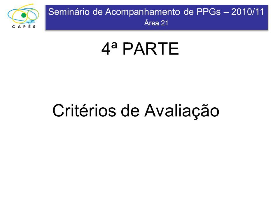 Seminário de Acompanhamento de PPGs – 2010/11 Área 21 Seminário de Acompanhamento de PPGs – 2010/11 Área 21 Critérios de Avaliação 4ª PARTE