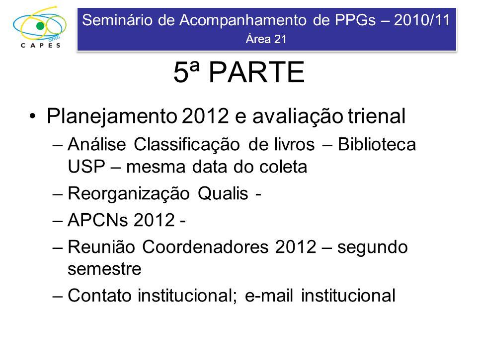 Seminário de Acompanhamento de PPGs – 2010/11 Área 21 Seminário de Acompanhamento de PPGs – 2010/11 Área 21 Planejamento 2012 e avaliação trienal –Aná