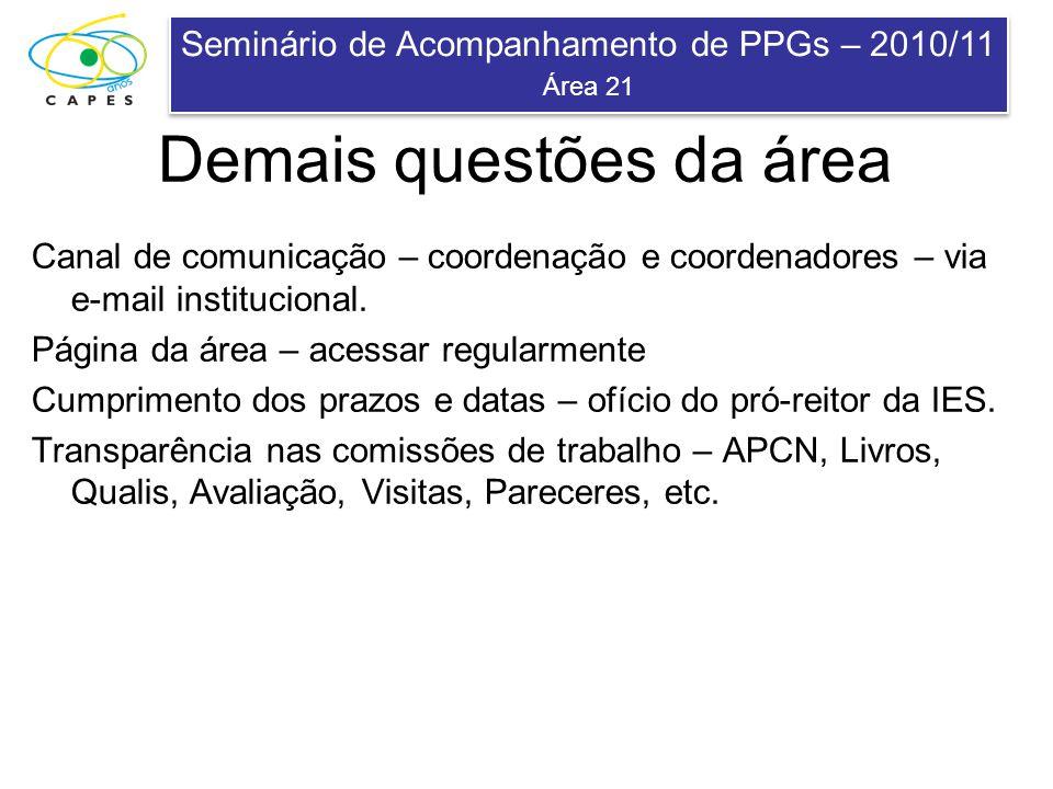 Seminário de Acompanhamento de PPGs – 2010/11 Área 21 Seminário de Acompanhamento de PPGs – 2010/11 Área 21 Demais questões da área Canal de comunicaç