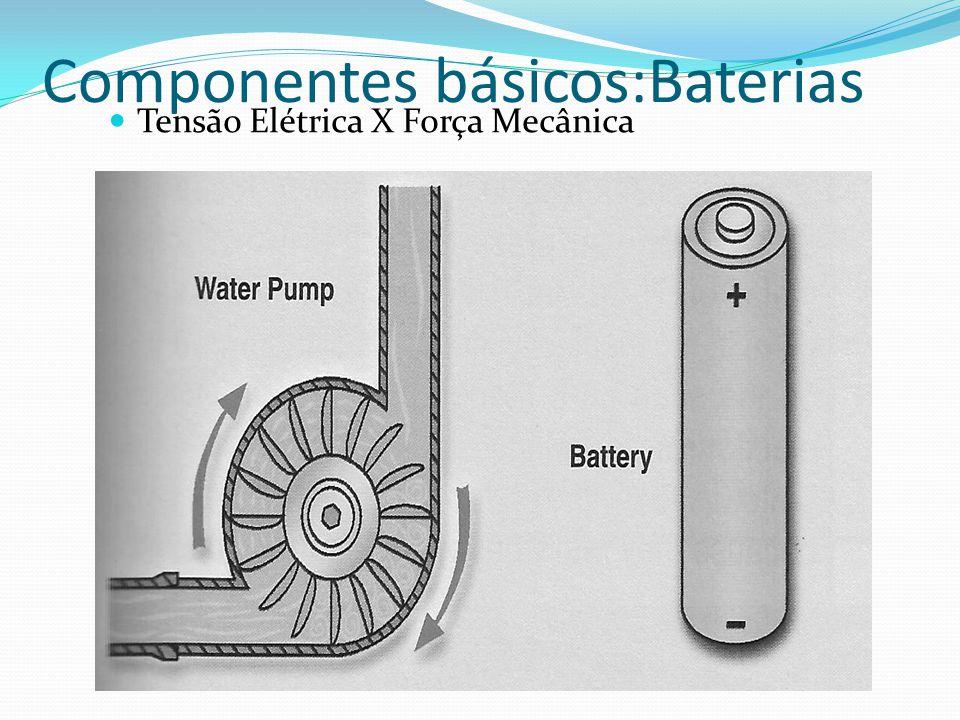 Componentes básicos:Baterias Tensão Elétrica X Força Mecânica