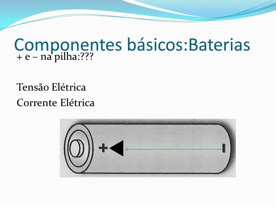 Componentes básicos:Baterias + e – na pilha:??? Tensão Elétrica Corrente Elétrica