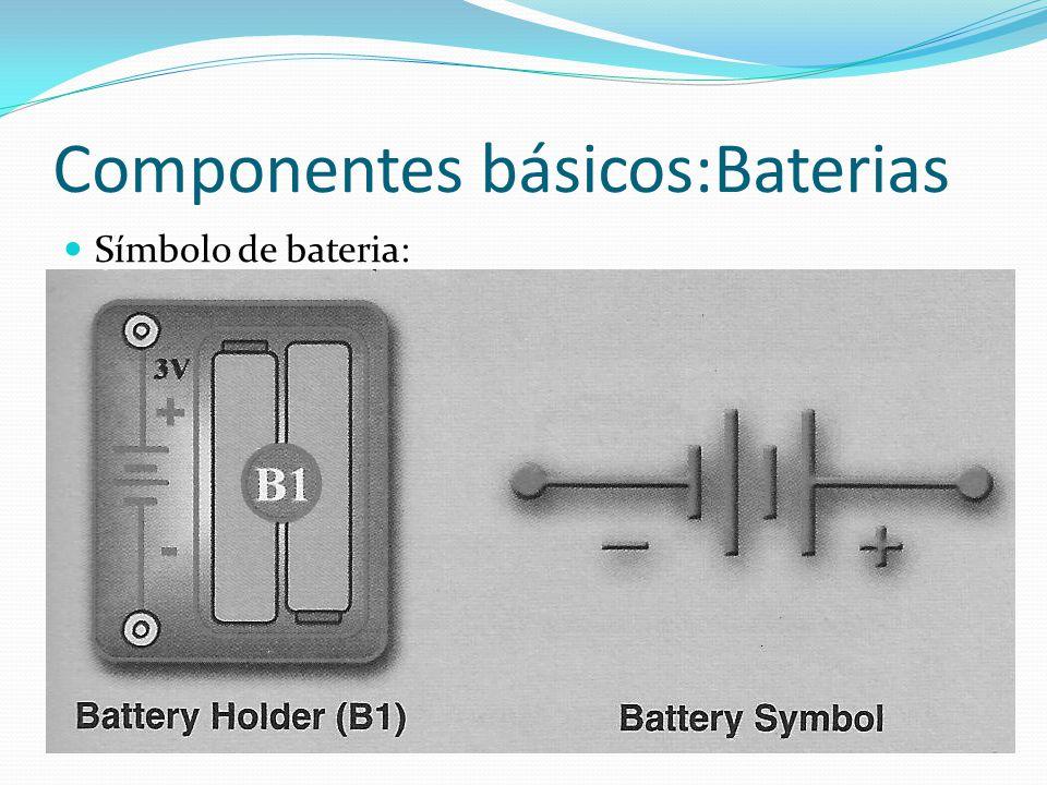 Componentes básicos:Baterias Símbolo de bateria: