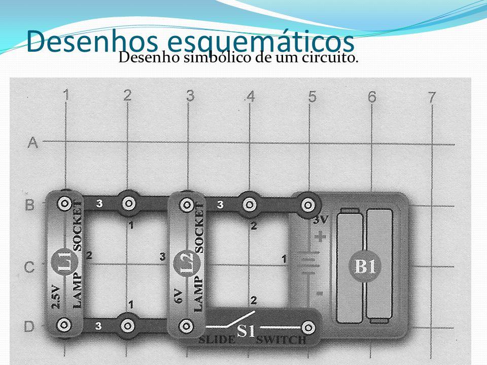 Desenhos esquemáticos Desenho simbólico de um circuito.