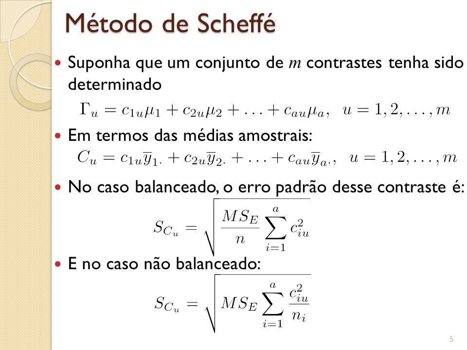 Método de Scheffé Suponha que um conjunto de m contrastes tenha sido determinado Em termos das médias amostrais: No caso balanceado, o erro padrão desse contraste é: E no caso não balanceado: 5