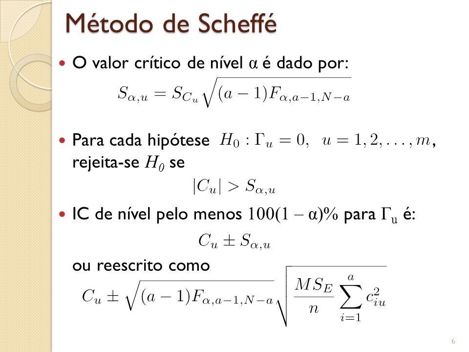 Método de Scheffé O valor crítico de nível α é dado por: Para cada hipótese, rejeita-se H 0 se IC de nível pelo menos 100(1 – α)% para Γ u é: ou reescrito como 6