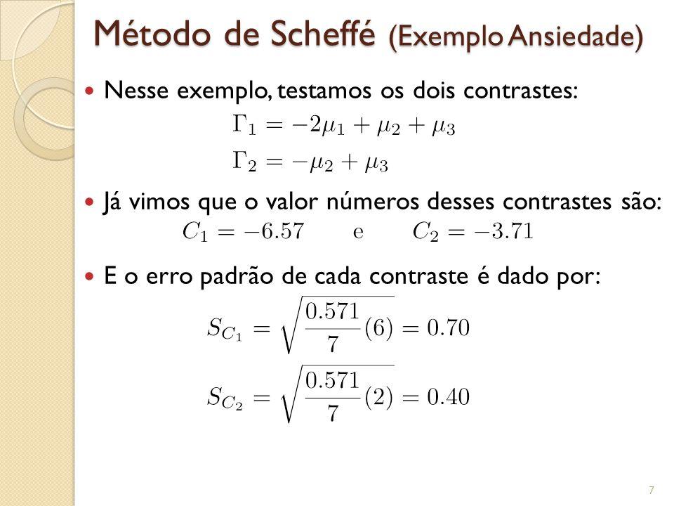 Método de Scheffé (Exemplo Ansiedade) Nesse exemplo, testamos os dois contrastes: Já vimos que o valor números desses contrastes são: E o erro padrão de cada contraste é dado por: 7