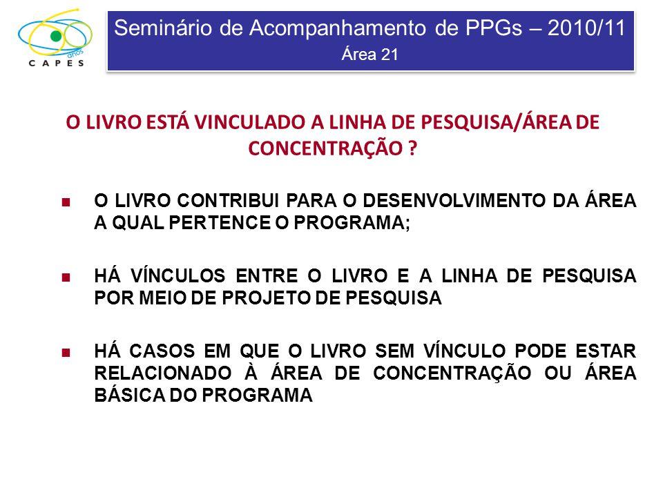 Seminário de Acompanhamento de PPGs – 2010/11 Área 21 Seminário de Acompanhamento de PPGs – 2010/11 Área 21 O LIVRO ESTÁ VINCULADO A LINHA DE PESQUISA/ÁREA DE CONCENTRAÇÃO .