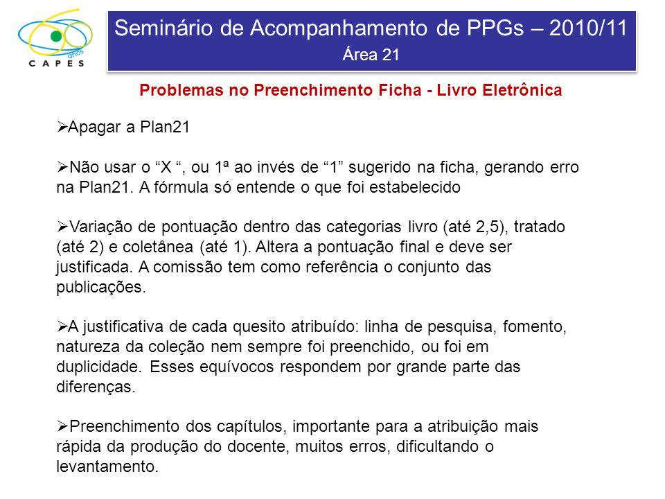 Seminário de Acompanhamento de PPGs – 2010/11 Área 21 Seminário de Acompanhamento de PPGs – 2010/11 Área 21 Apagar a Plan21 Não usar o X, ou 1ª ao invés de 1 sugerido na ficha, gerando erro na Plan21.