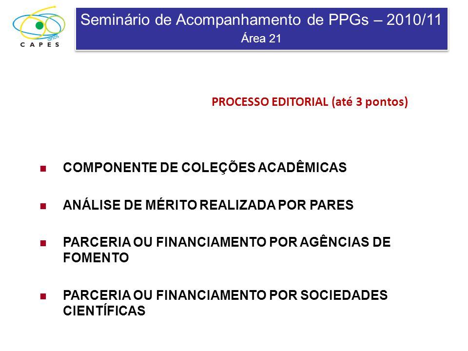 Seminário de Acompanhamento de PPGs – 2010/11 Área 21 Seminário de Acompanhamento de PPGs – 2010/11 Área 21 PROCESSO EDITORIAL (até 3 pontos) COMPONEN