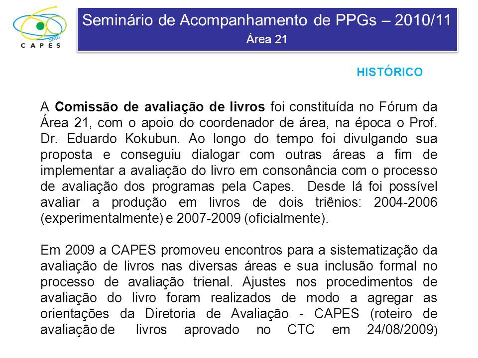 Seminário de Acompanhamento de PPGs – 2010/11 Área 21 Seminário de Acompanhamento de PPGs – 2010/11 Área 21 A Comissão de avaliação de livros foi constituída no Fórum da Área 21, com o apoio do coordenador de área, na época o Prof.