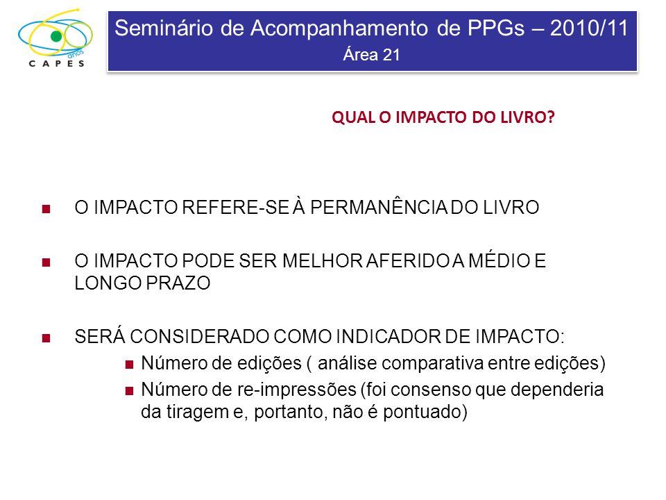Seminário de Acompanhamento de PPGs – 2010/11 Área 21 Seminário de Acompanhamento de PPGs – 2010/11 Área 21 QUAL O IMPACTO DO LIVRO? O IMPACTO REFERE-