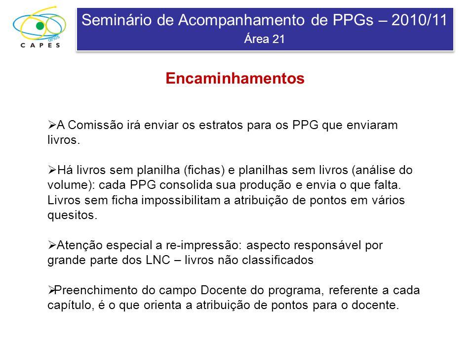 Seminário de Acompanhamento de PPGs – 2010/11 Área 21 Seminário de Acompanhamento de PPGs – 2010/11 Área 21 A Comissão irá enviar os estratos para os