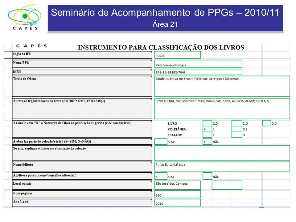 Seminário de Acompanhamento de PPGs – 2010/11 Área 21 Seminário de Acompanhamento de PPGs – 2010/11 Área 21 QUAL O IMPACTO DO LIVRO.