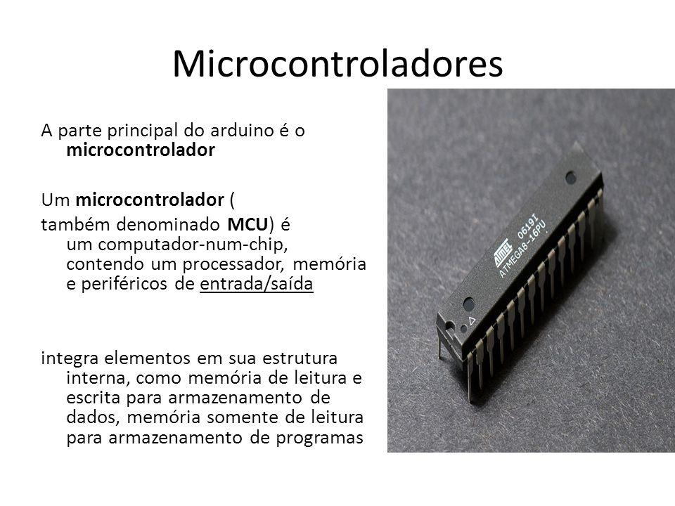 Microcontroladores A parte principal do arduino é o microcontrolador Um microcontrolador ( também denominado MCU) é um computador-num-chip, contendo u