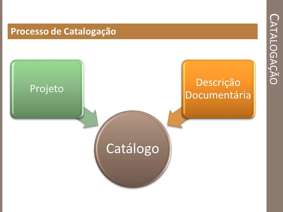 C ATALOGAÇÃO Processo de Catalogação Catálogo Projeto Descrição Documentária