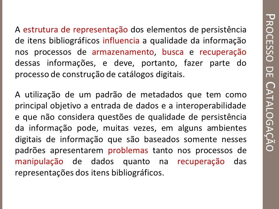 P ROCESSO DE C ATALOGAÇÃO A estrutura de representação dos elementos de persistência de itens bibliográficos influencia a qualidade da informação nos