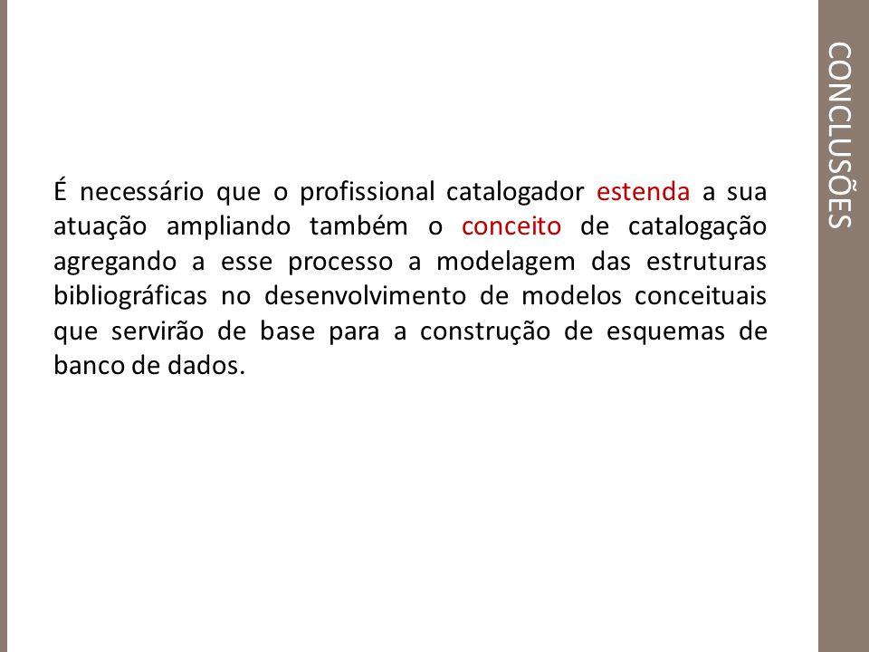 É necessário que o profissional catalogador estenda a sua atuação ampliando também o conceito de catalogação agregando a esse processo a modelagem das