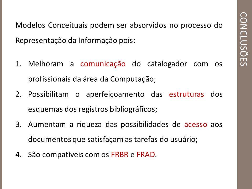 CONCLUSÕES Modelos Conceituais podem ser absorvidos no processo do Representação da Informação pois: 1.Melhoram a comunicação do catalogador com os pr